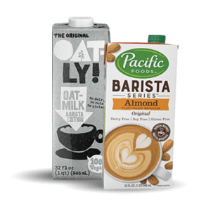 Alternative milks selection including oatly and pacific foods